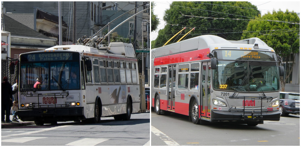 Photos of one of Muni's older, standard-length trolley buses at a stop on the 24 Divisadero route and one of Muni's new, extended trolley buses traveling on the 14 Mission route.
