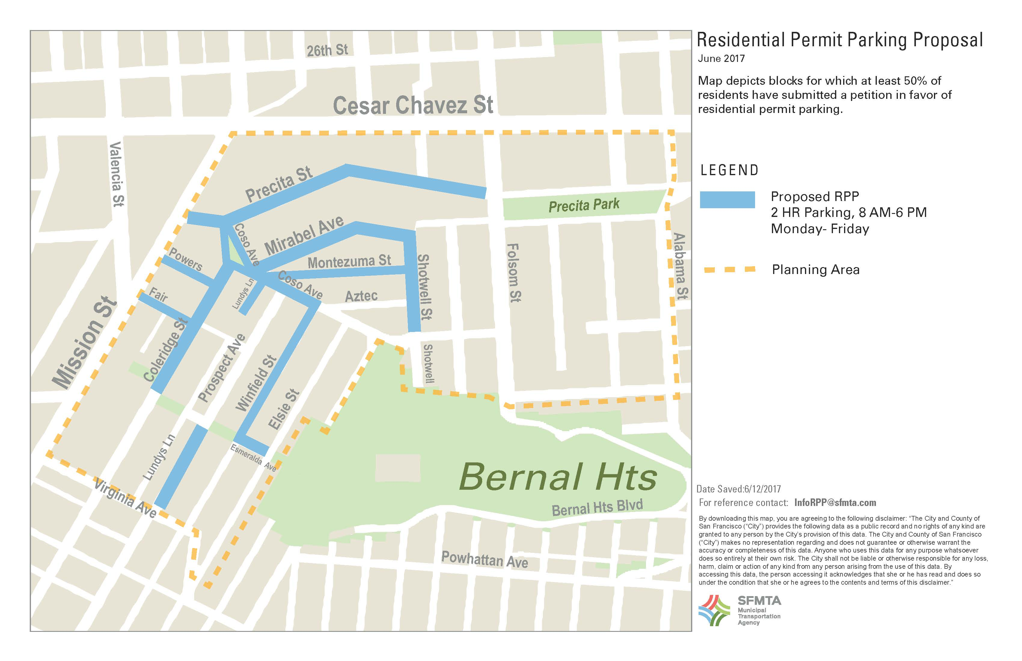 Map Of Northwest Bernal Heights Proposed Rpp Streets