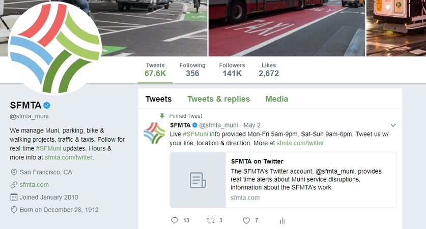 "A screenshot of the SFMTA's Twitter account webpage. The account description states, ""We manage Muni, parking, bike & walking projects, traffic & taxis. Follow for real-time #SFMuni updates. Hours & more info at http://sfmta.com/twitter."""