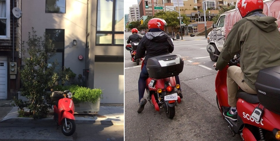 Two photos. One shows a Scoot e-moped parked at a curb on a residential street. The other shows three people riding Scoot e-mopeds on a street.
