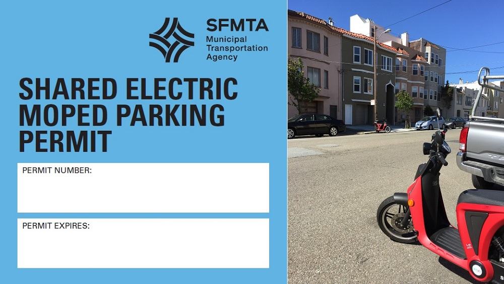 "One shows an SFMTA Shared Electric Moped Parking Permit sticker, with blank fields labeled ""permit number"" and ""permit expires."" The other image shows two Scoot e-mopeds parked along curbs on opposite sides of a residential street."