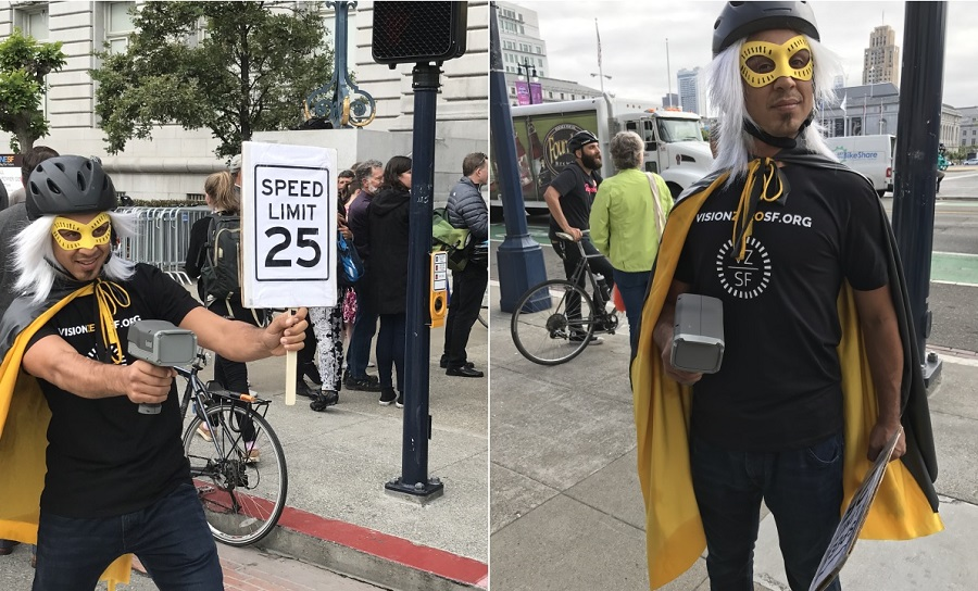 "Two photos of a man in costume as the Vision Zero Hero, wearing a cape, a wig, a bicycle helmet and eye mask, holding a speed radar and sign that says, ""SPEED LIMIT 25."""