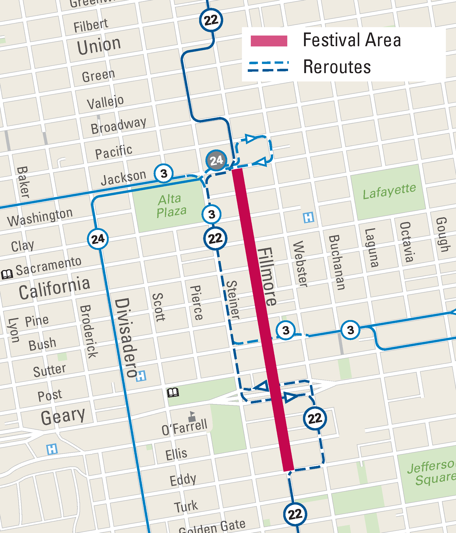 Muni reroutes for the Fillmore Jazz Festival.