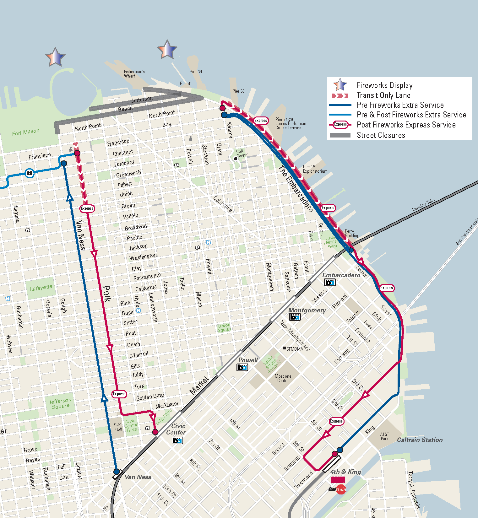 july th extra service  sfmta - map