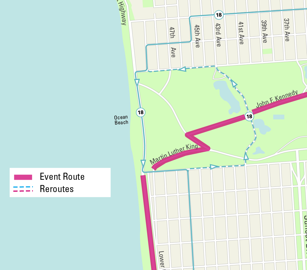 Muni reroute map for Sunday Streets Sunset/Golden Gate Park.