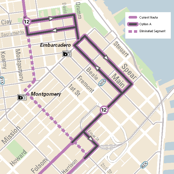 Map of the proposed Option A 12 Folsom/Pacific bus route.  The proposed 12 Folsom-Pacific extension will have the route continue eastbound on Folsom and will use both Main (northbound) and Spear (southbound) Streets to access Embarcadero Station. The route will continue north on Drumm and will use both Sacramento (Westbound) and Clay (Eastbound) to connect to Sansome Street.
