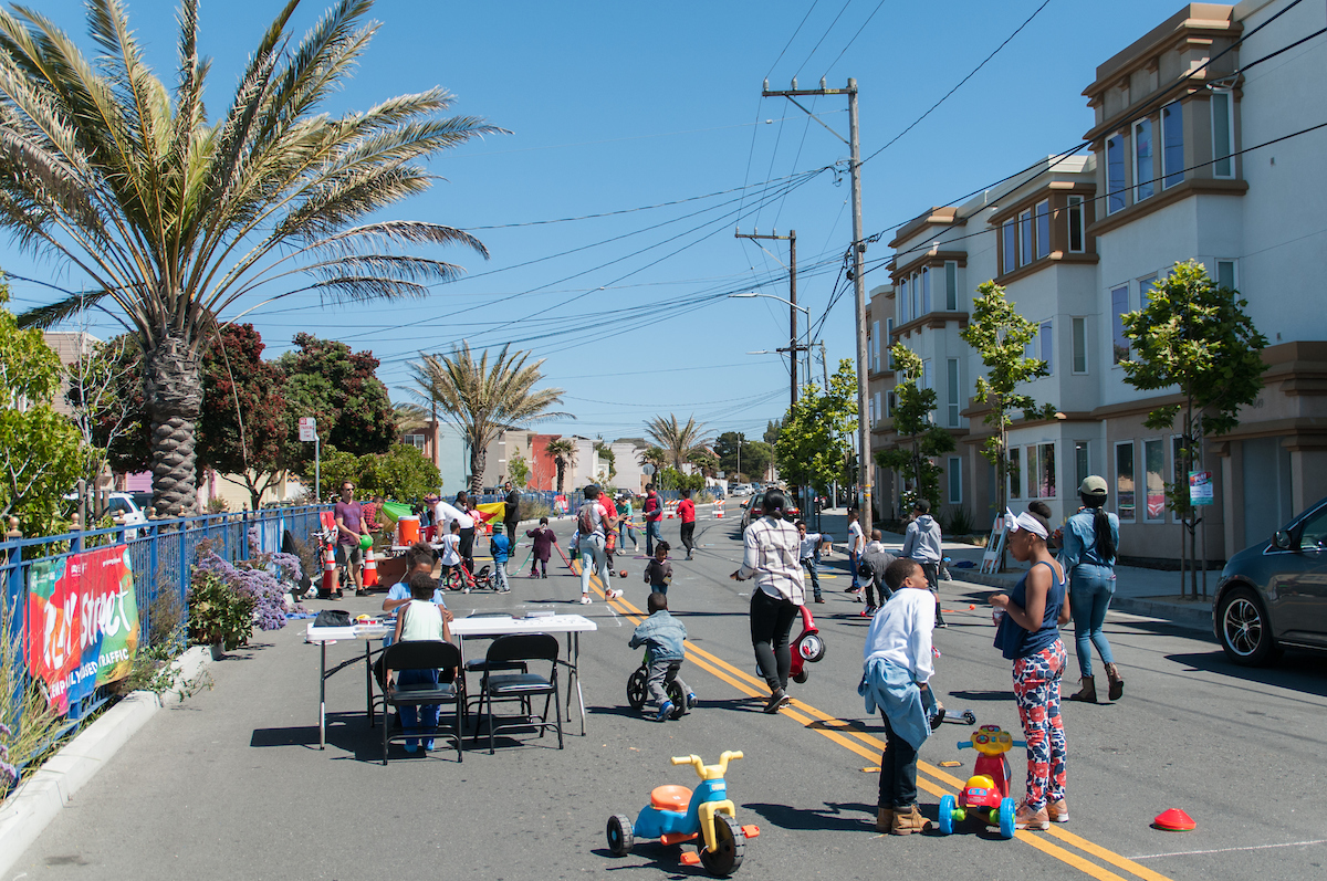 A Play Streets event on Jamestown Ave.