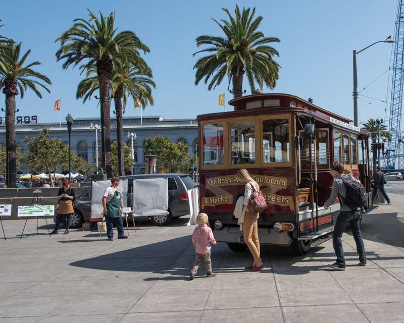 a family with motorized cable car 62