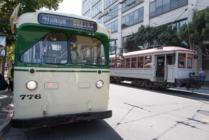 vintage trolley bus and streetcar