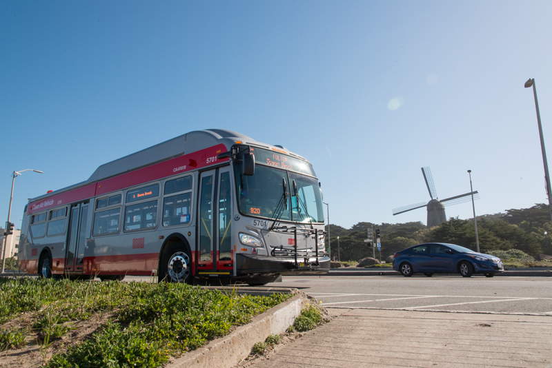 new muni bus with Dutch Windmill in background
