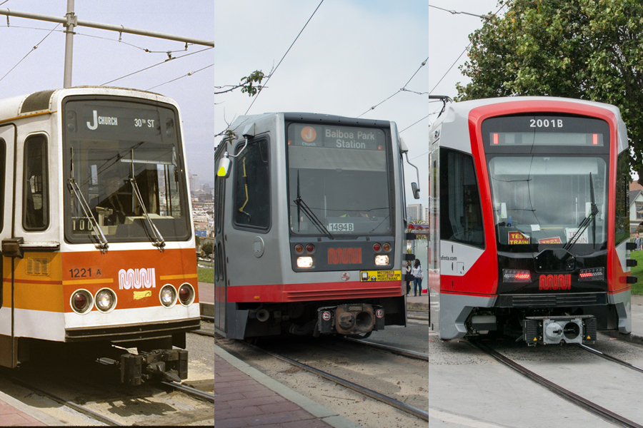 composite photo of three generations of Muni LRV car