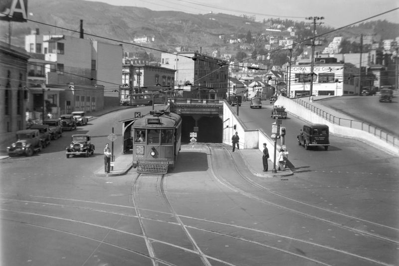 market and castro in 1935 with twin peaks tunnel portal