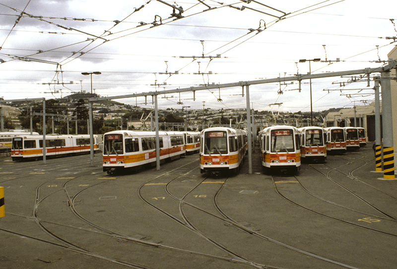 fleet of lrvs at rail yard
