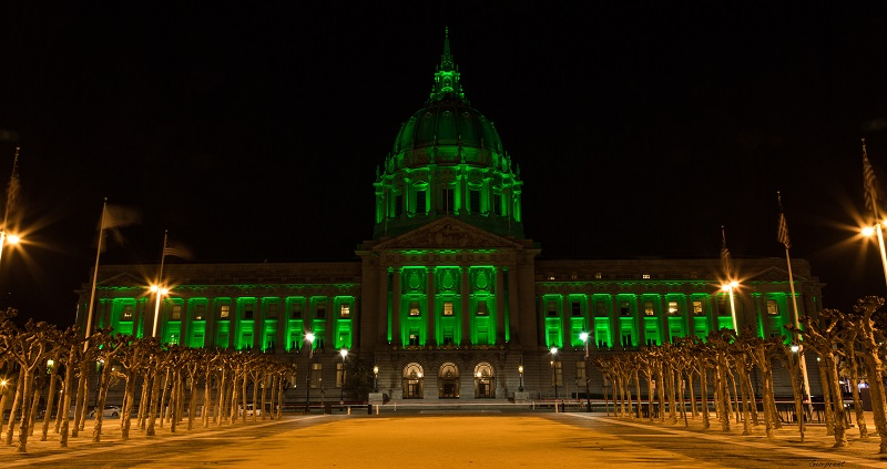 City Hall Lit Up in St. Paddy's Day Green
