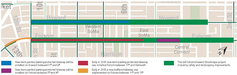 Graphic showing changes to Folsom and Howard streets.