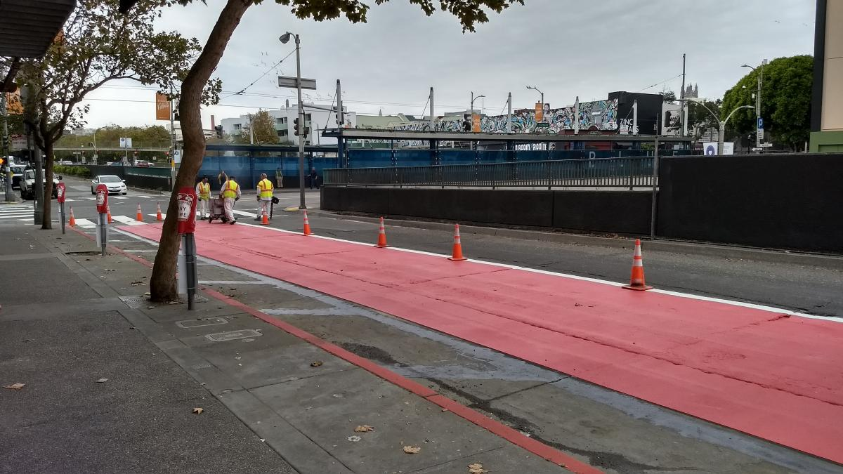 Red transit lanes being installed
