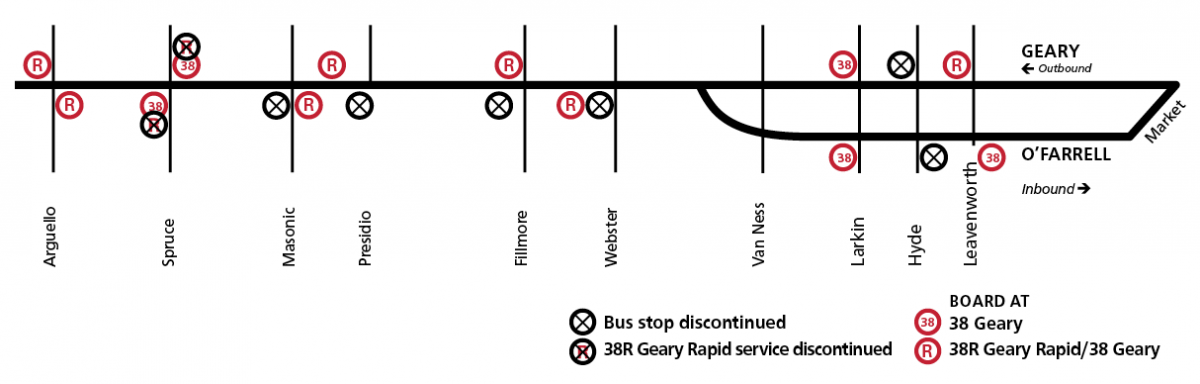 Schematic representing bus stop changes for Geary Rapid Project.