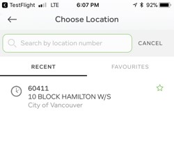 Choose location to Pay by iPhone
