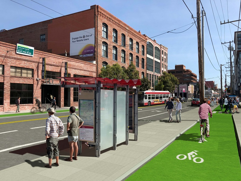 Rendering of Townsend Street between 4th and 5th streets