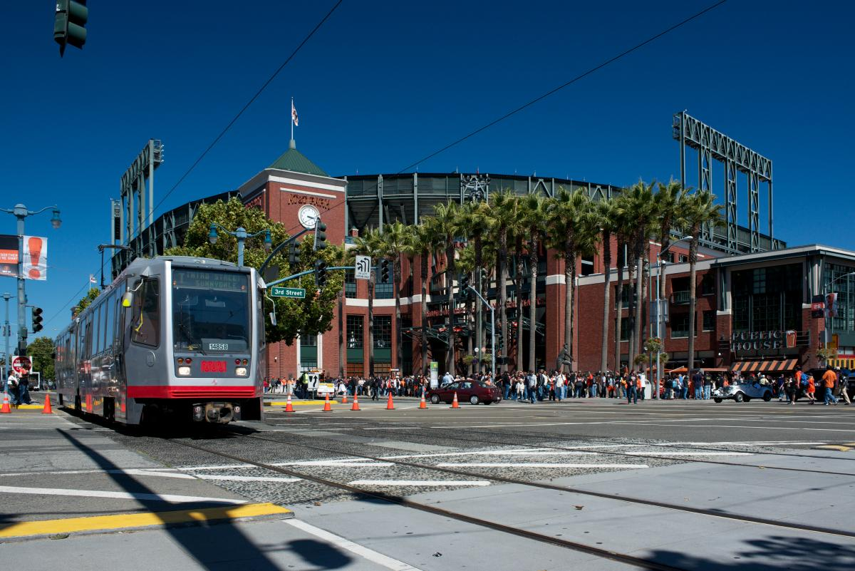 The T Third train rolls past AT&T Park.