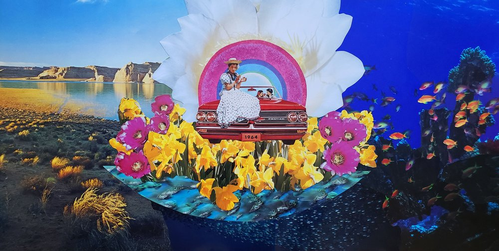 People sit in and on a 1964 Pontiac convertable surrounded by flowers surround by river cliffs, a plain, and an underwater scene with fish