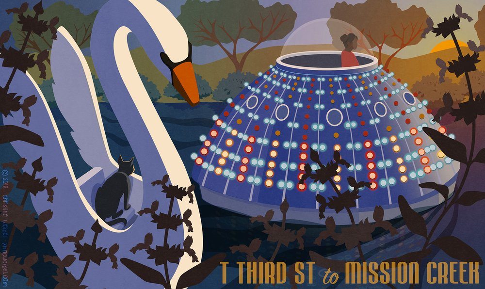 "A cat rides a swan boat and a person of color rides a brightly lit flying saucer on a body of water in a park. Text reads ""T Third St to Mission Creek"""