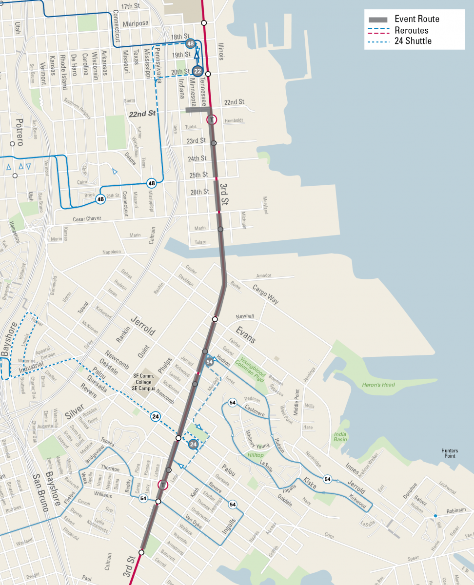 Muni reroute map for Sunday Streets Bayview/Dogpatch