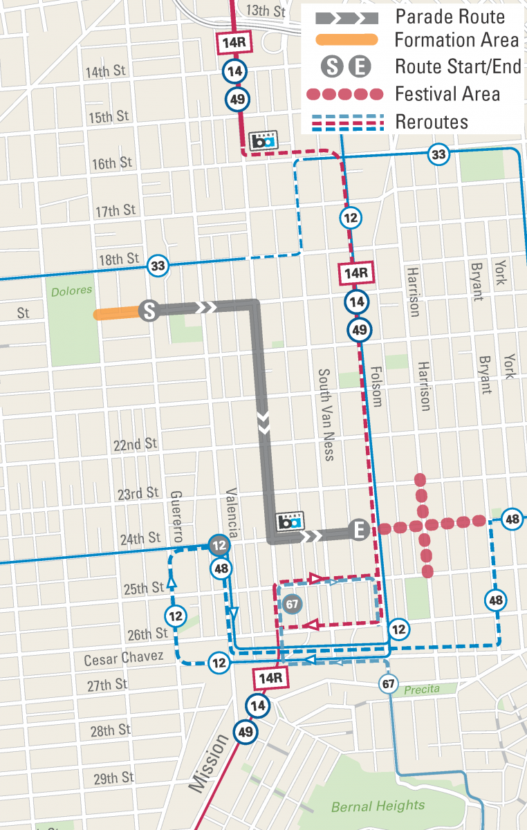 Muni reroute map for the Cesar Chavez Parade and Festival in the Mission