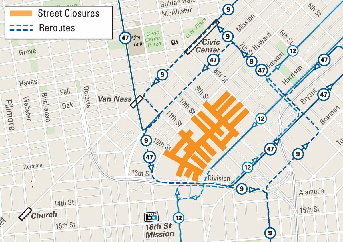Folsom Street Fair: September 30, 2018 | SFMTA on septa route map, san francisco streetcar route map, pierce transit route map, mbta route map, samtrans route map, bart route map, caltrain route map, golden gate ferry route map, ac transit route map, j train route map, mta route map, golden gate transit route map, sound transit route map, bus route map, greyhound route map, amtrak route map, san diego trolley route map, metro route map, metrolink route map, vta route map,