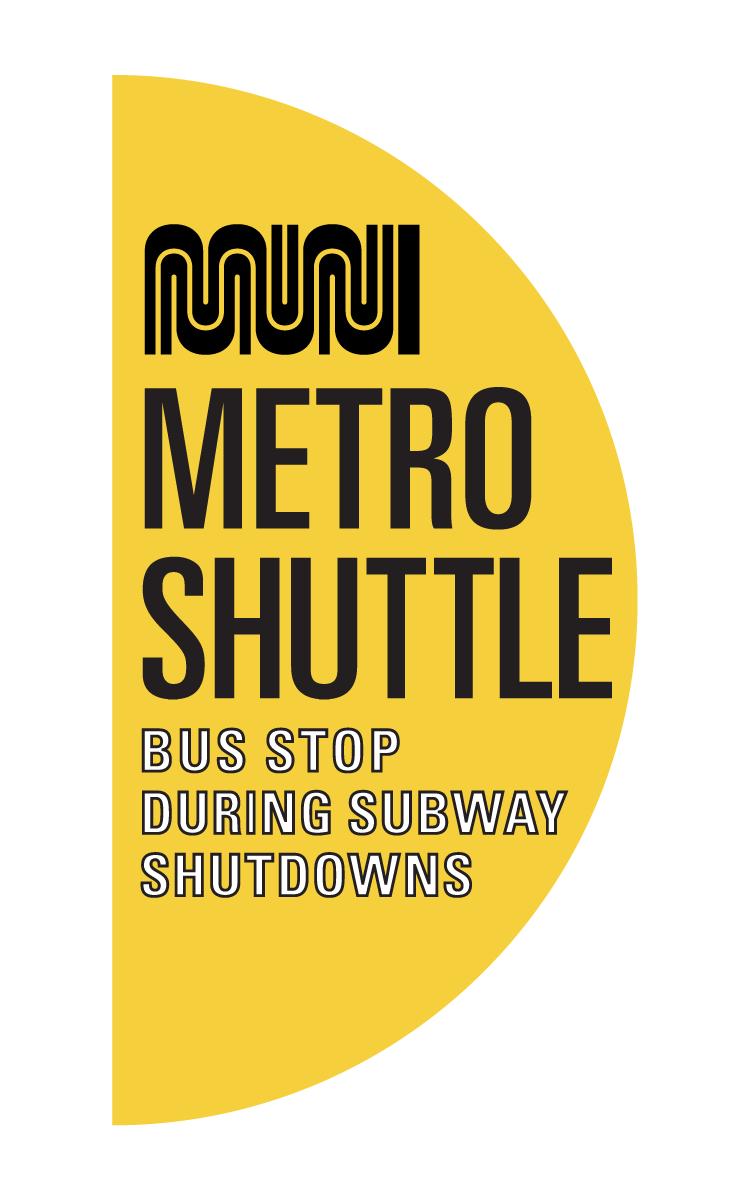 Half Moon bus stop symbol for subway closures.