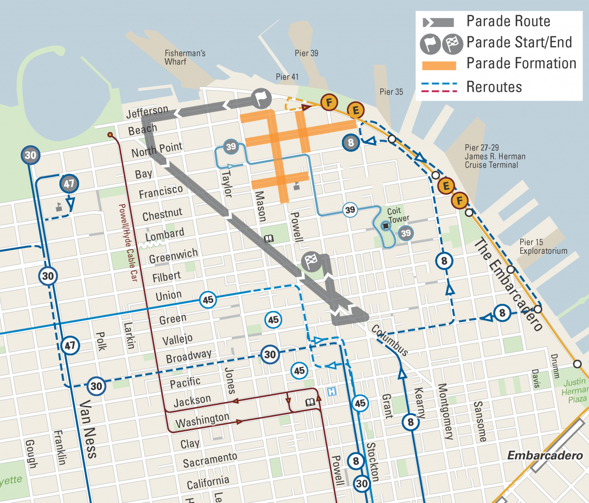 Map of street closures and Muni reroutes for the Italian Heritage Parade.