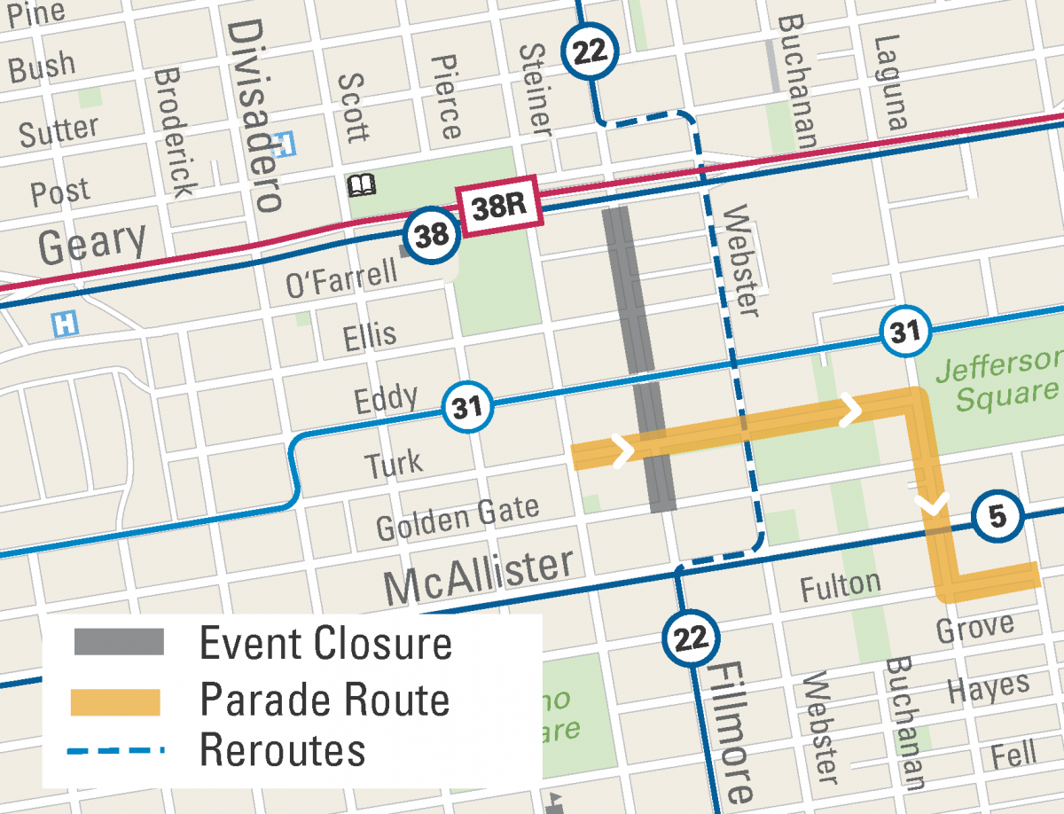 Map of street closures and Muni reroute for the Juneteenth Parade and Festival.