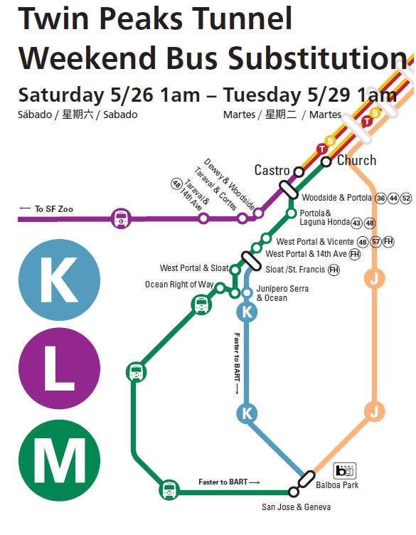 Route map for the memorial day bus substitution plan.