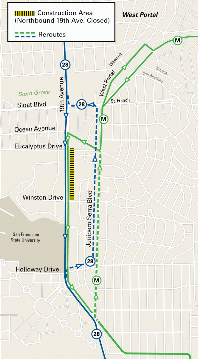 Map of street closure and reroutes for the M Ocean View Improvements project.
