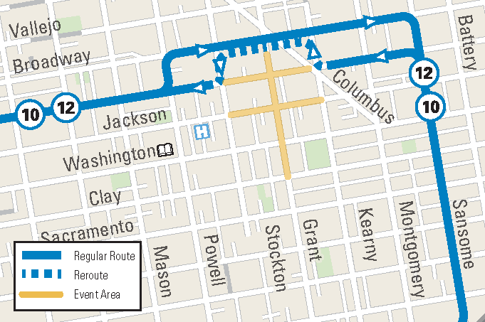 Muni Reroute Map for the Chinese New Year Flower Fair