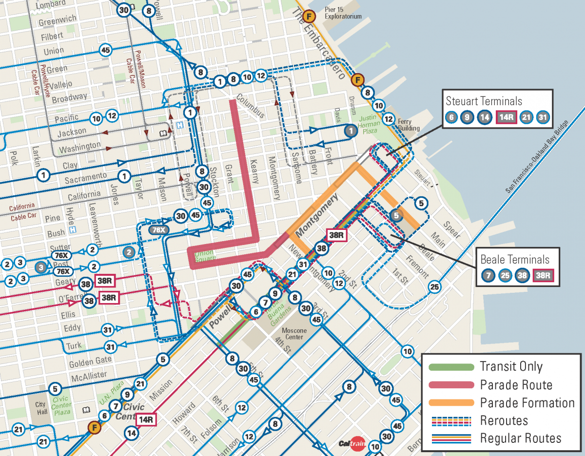 Muni Reroute Map for the Chinese New Year Parade 2018