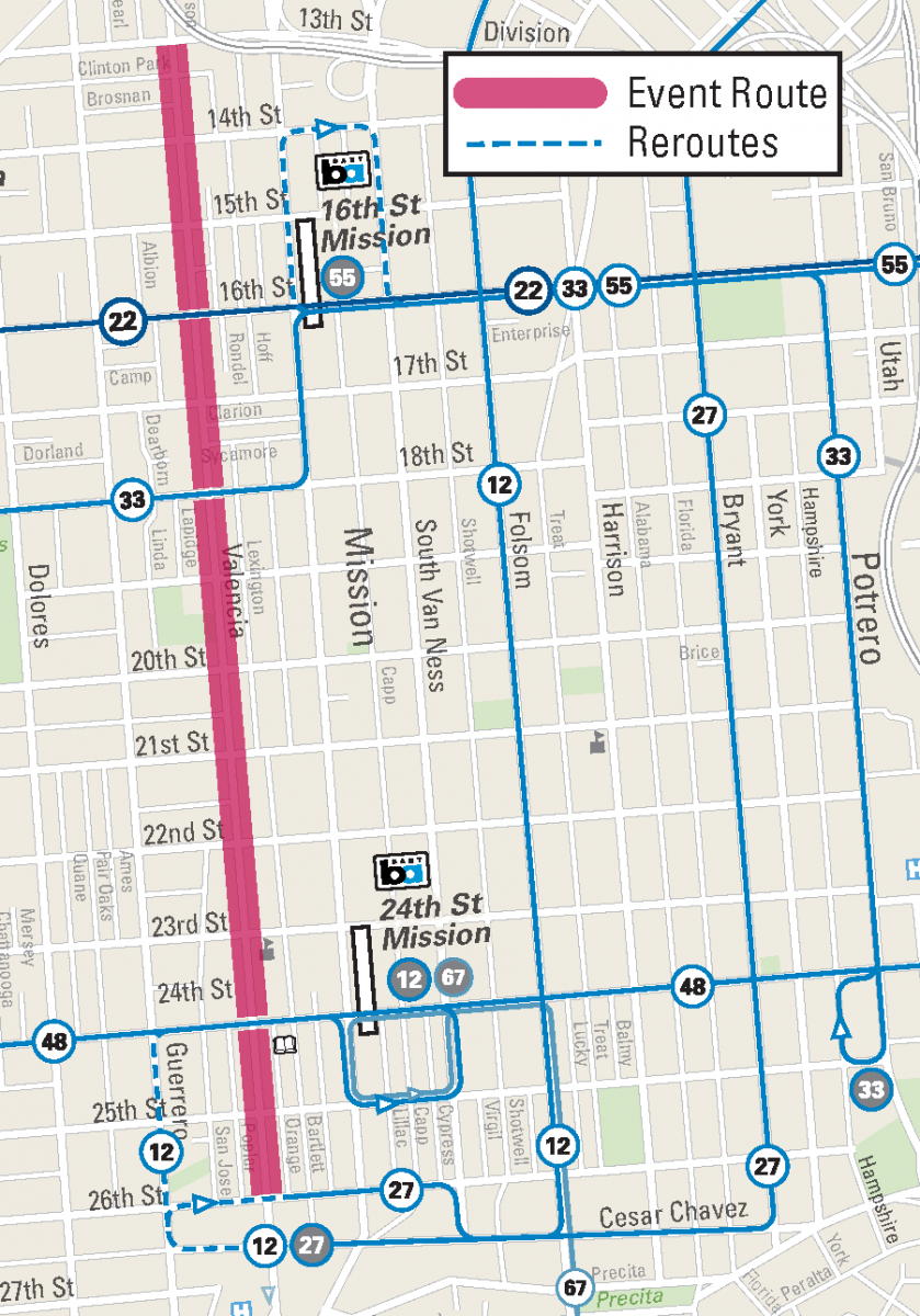 Sunday Street Mission District Reroutes