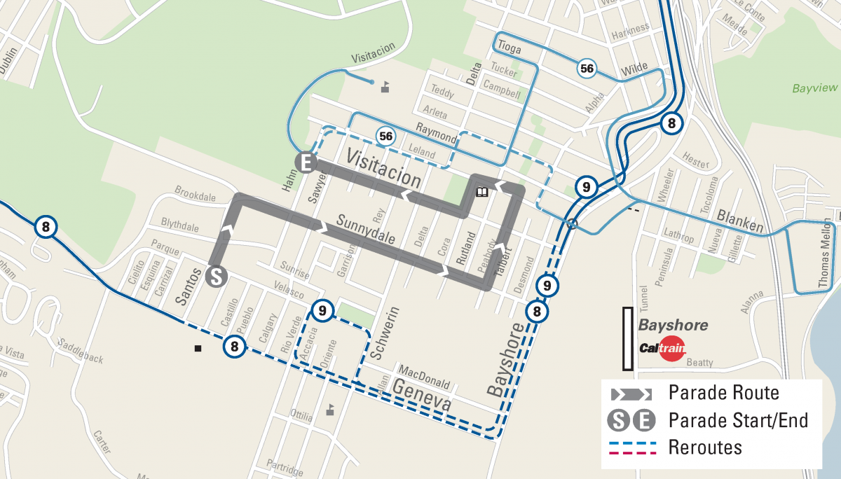 Muni Reroute Map for the Visitacion Valley Community Day