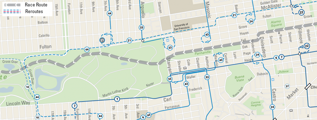 Map of Muni reroutes for Bay to Breakers in the Panhandle area