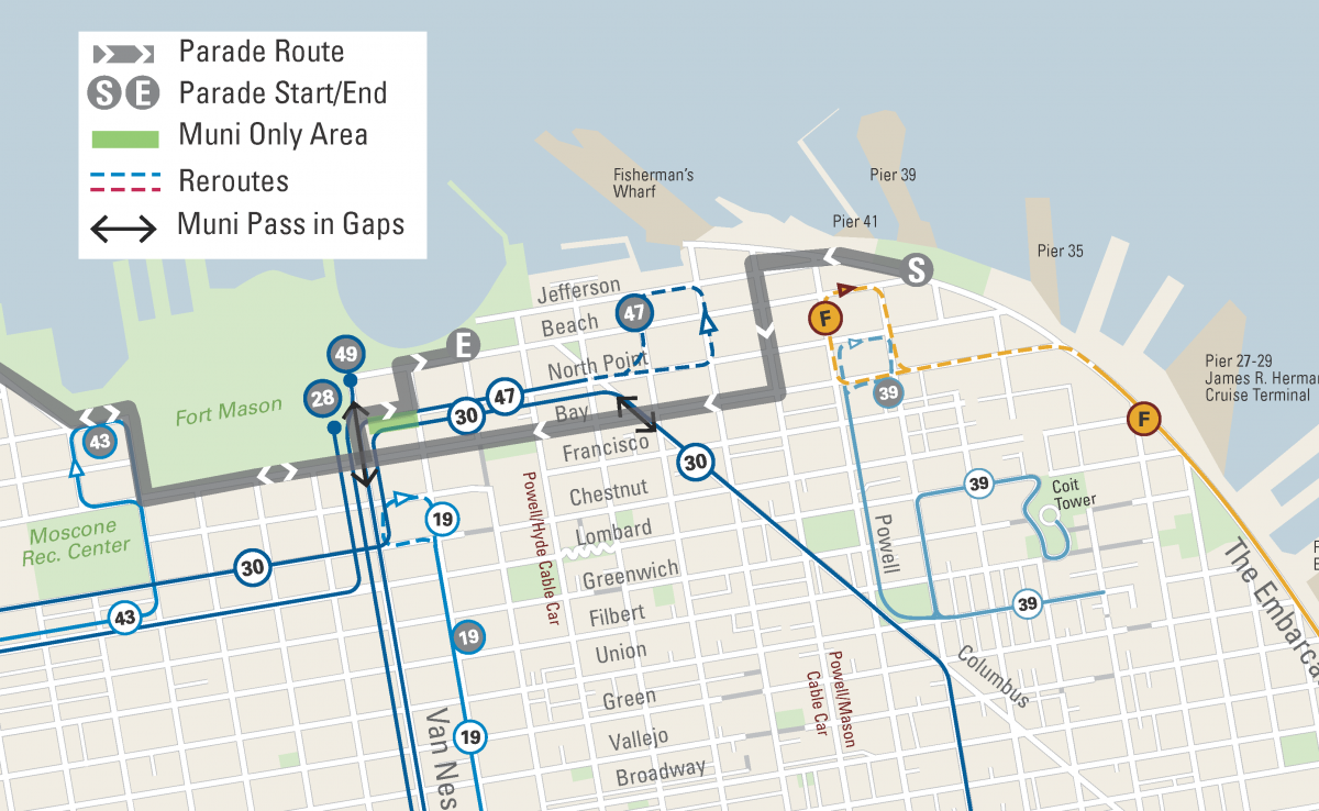 Map of Street Closures and Muni reroutes for the Rock n Roll Half Marathon