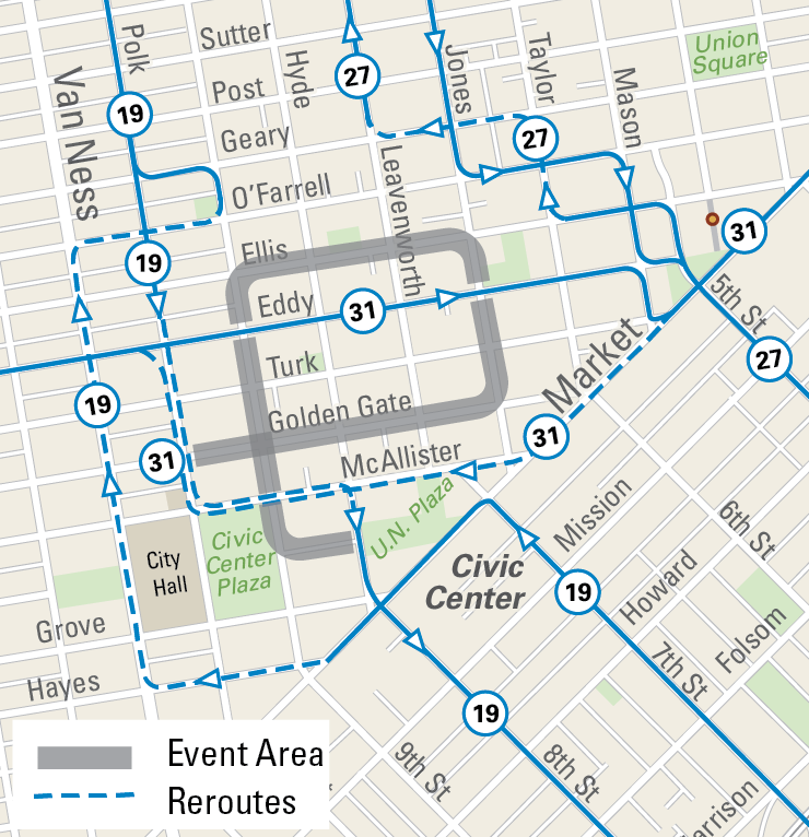 Muni Reroutes and Street Closures for Sunday Streets Tenderloin