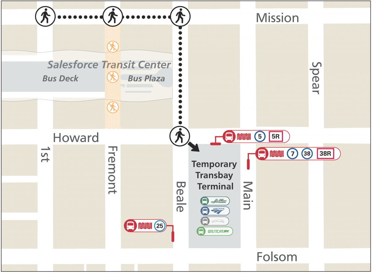 Map showing path from Salesforce Transit Center to Temporary Transbay Terminal.