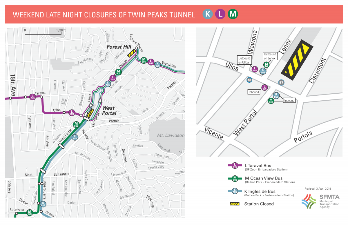 Map of K L and M Shuttle Buses during weekend late night closures for Twin Peaks Tunnel Construction