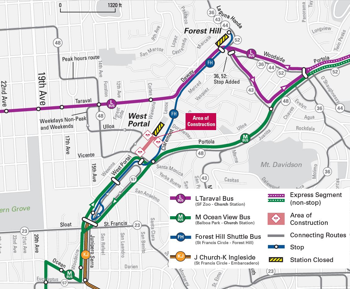 Muni Subway Map.Twin Peaks Tunnel Improvements Sfmta