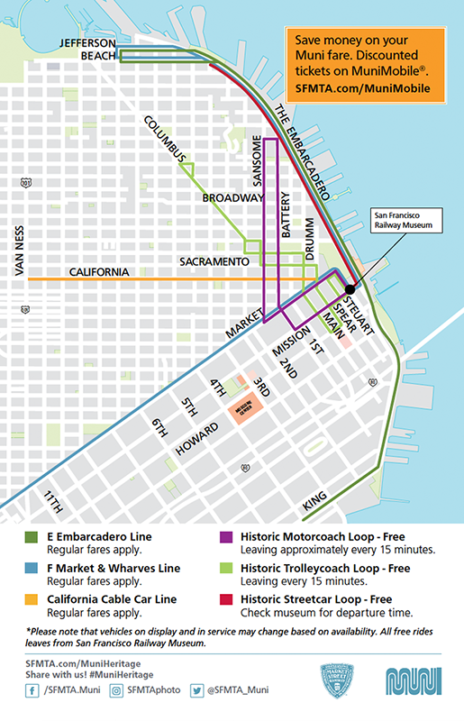 Routes of Special Vintage Vehicle Rides Including Historic Streetcar Loop to Pier 39, Trolley Coach Loop to Washington Square and Motor Coach Loop to Levi Plaza