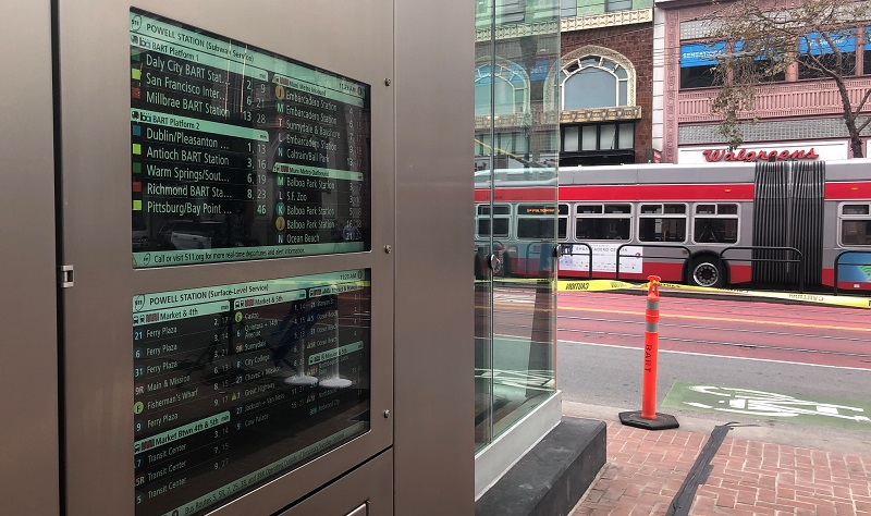 New digital signs at the Powell Street Station.