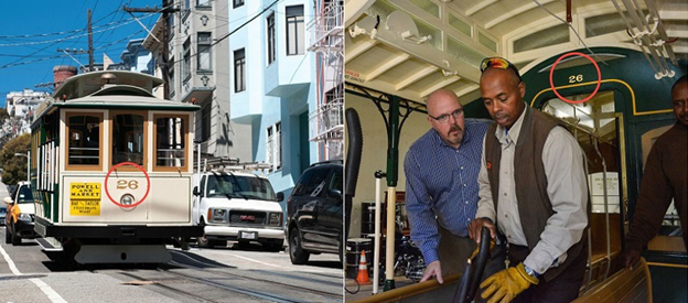 "Two images. One shows a cable car traveling down a busy neighborhood street, with the number ""26"" circled on the front end. The second image shows three men, including the grip, inside the cable car. The number ""26"" is circled in red above the compartment doorway."
