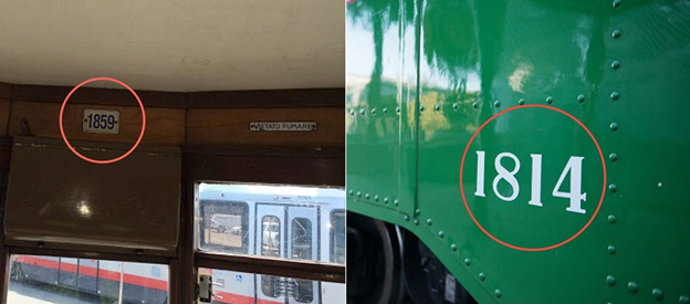 "Two images. One shows the interior wall of a Muni historic streetcar, with the number ""1859"" circled in red above the window on the end of the streetcar. The second image shows a close-up of the side of a green historic streetcar, with the white numbers ""1814"" circled in red."