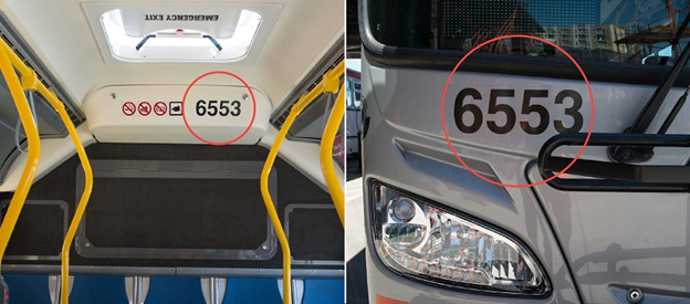 "Two images. One shows the rear interior of a Muni bus with yellow poles and blue seats. Above the seats, a four digit bus number ""6553"" is circled in red. The second image shows the front of the bus. Above the headlight, the number ""6553"" is also circled in red."