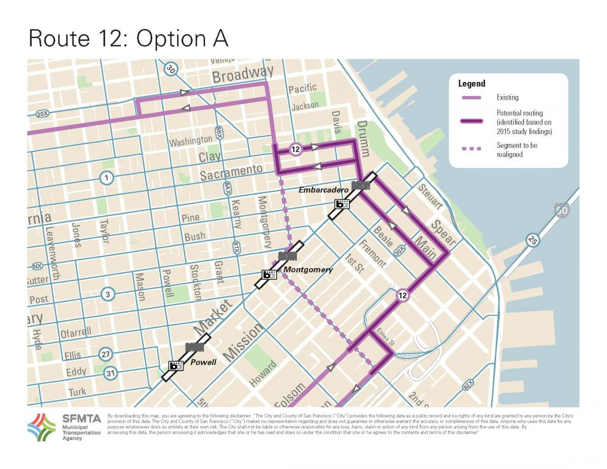 image of Option A that has bus using Clay and Sacramento north of Market to reach Sansome